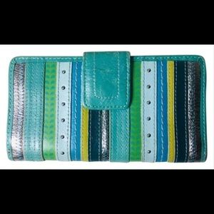 Fossil leather multi color woman's wallet